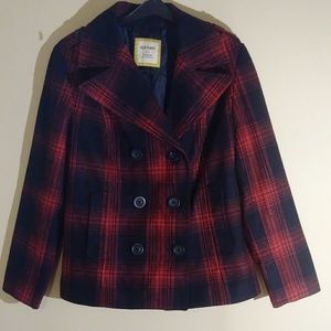 Old Navy Red Black Plaid Coat Size XL